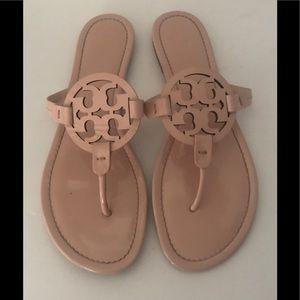 Tory Burch Miller Logo Patent Seashell Sandal 12